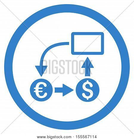 Cashflow Euro Exchange rounded icon. Vector illustration style is flat iconic symbol, cobalt color, white background.