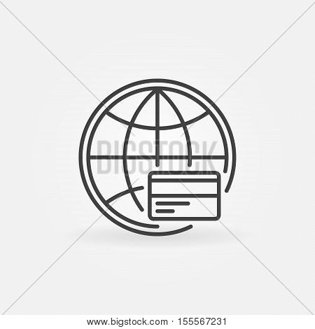 Global payment line icon. Vector credit card online payment symbol or logo element in thin line style