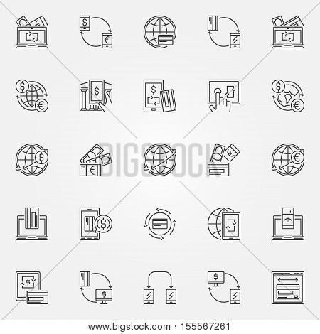 Money transfer icon set. Electronic funds transfer concept signs