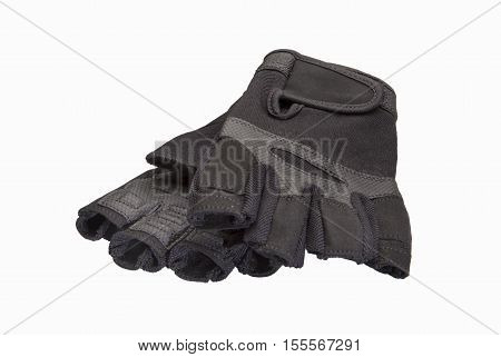 Bicyclist gloves isolated on white background .
