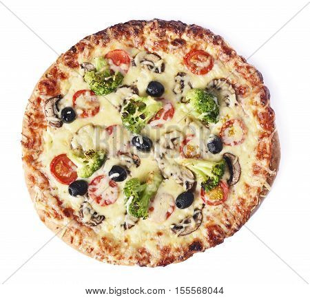 delicious vegetarian pizza, isolated on white background. High angle shot.