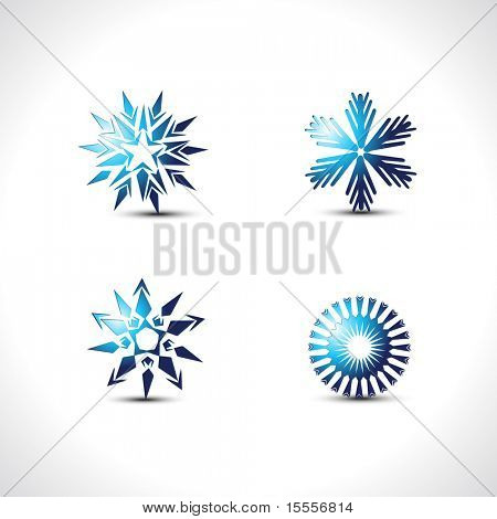 vector snow flakes set of four