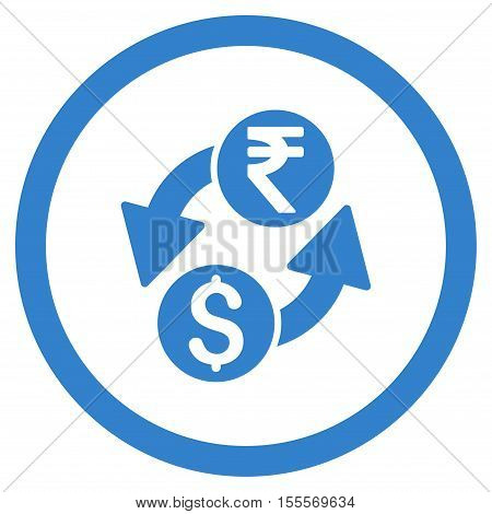 Dollar Rupee Exchange rounded icon. Vector illustration style is flat iconic symbol, cobalt color, white background.