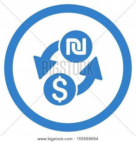 Dollar Shekel Exchange rounded icon. Vector illustration style is flat iconic symbol, cobalt color, white background.