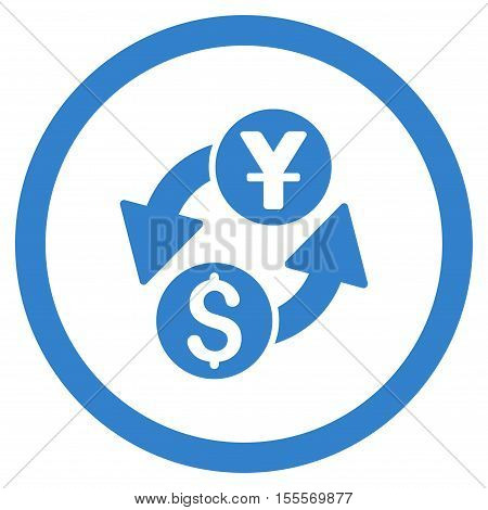 Dollar Yuan Exchange rounded icon. Vector illustration style is flat iconic symbol, cobalt color, white background.