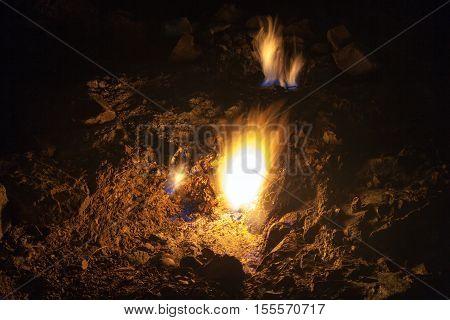 Mount Chimera, eternal flames in ancient Lycia Turkey.