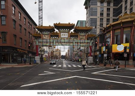 Washington DC USA - January 10 2016: A Chinatown is historically any ethnic enclave of Chinese or Han people outside China Taiwan and Singapore.