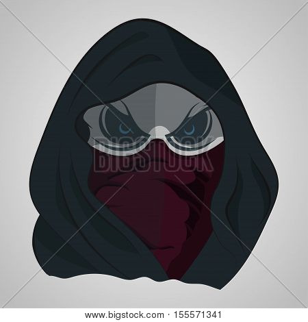 Evil skull in hood, death t-shirt design, vector