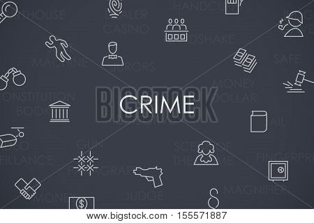 Thin Stroke Line Icons of Crime on White Background