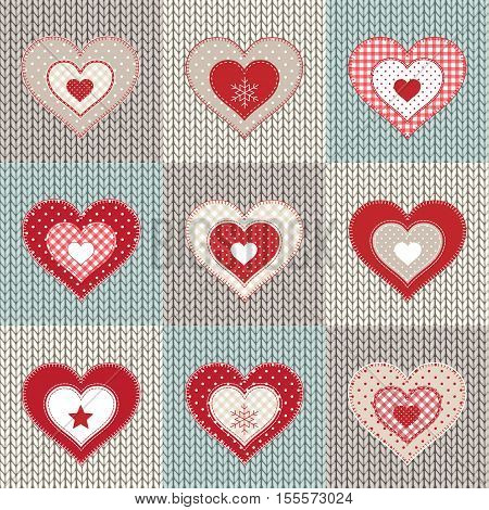 Set of red decorative patchwork hearts on knitted background, vector illustration