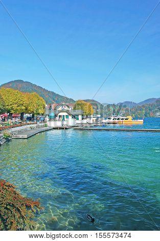 Promenade of Sankt Gilgen at Lake Wolfgangsee in Salzkammergut,Salzburger Land,Austria
