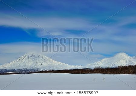 Beautiful winter volcanic landscape of Kamchatka Peninsula in Russia.