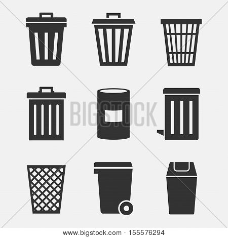Garbage bins and buckets vector icon set. Silhouette of a trash can isolated from the background. Signs waste containers.