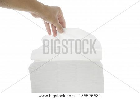 Hand to grab the Stack of tissue paper isolated white background