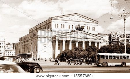 Moscow Russia - July 1962: The Bolshoi Theatre building.