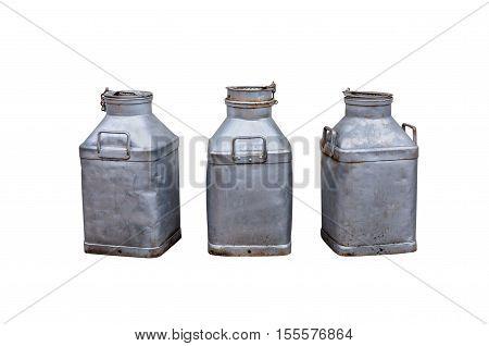 Old milk churns isolated on white backgroud