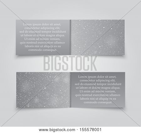 Set of Horizontal Grey Paper Rectangle Banners Template. Vector Illustration. Snow, Blizzard. Winter Holiday New Year and Christmas. Winter Sale and Discount. Mock up, Card.