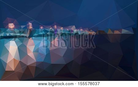 City night panorama with lamp lights bridge and reflection on river water. Creative vector background design