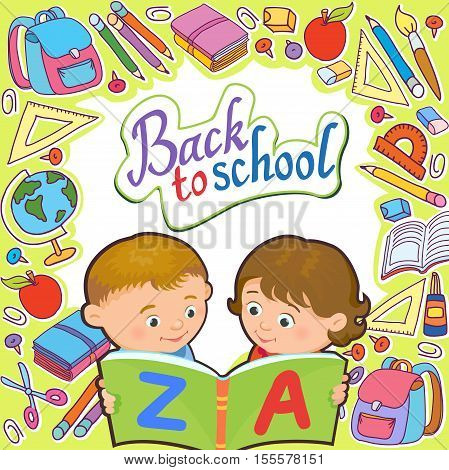 Cartoon kids reading book boy girl isolated vector illustration european back to school tools background