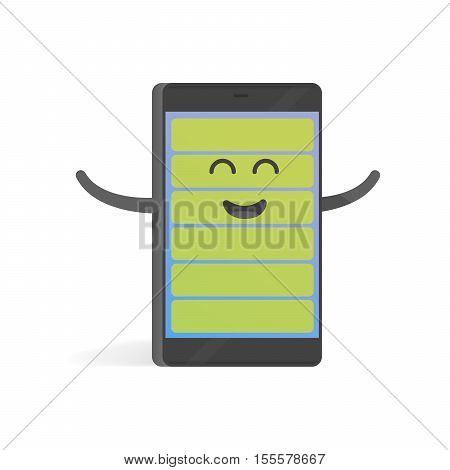 Smartphone concept happy full charge battery. Cute cartoon character phone with hands eyes and smile.