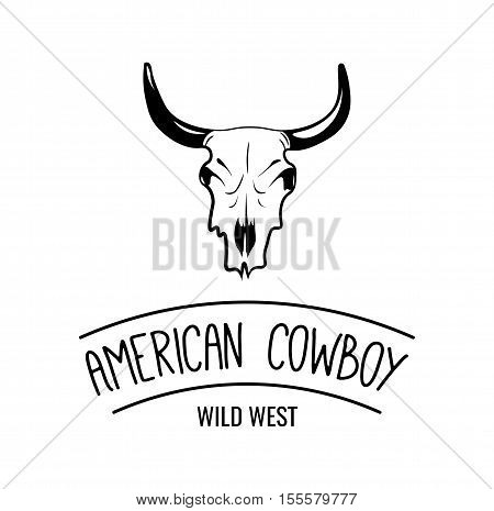 Wild west cow skull with horns. True Cowboy Rodeo Label. Vector Illustration. Isolated On White Background