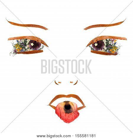 application the girl makes silly faces and showing tongue made of dried flowers and long stiff brown iris leaves