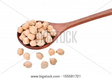 garbanzo beans in wooden spoon on white background