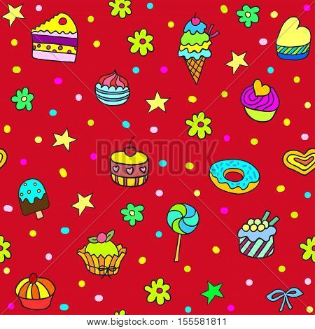Holiday seamless pattern with ice-cream pie and cupcakes. Seamless pattern can be used for wallpaper pattern fills web page background surface textures.