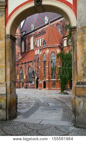 church of st Elisabeth, old town of Wroclaw, Poland