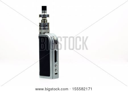 Sleek and high-end e-cigarette vaping box mod isolated