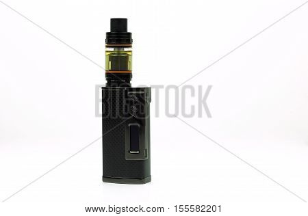 Black and advanced e-cigarette vaping box mod isolated