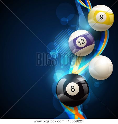 vector pool balls on blue glowing background
