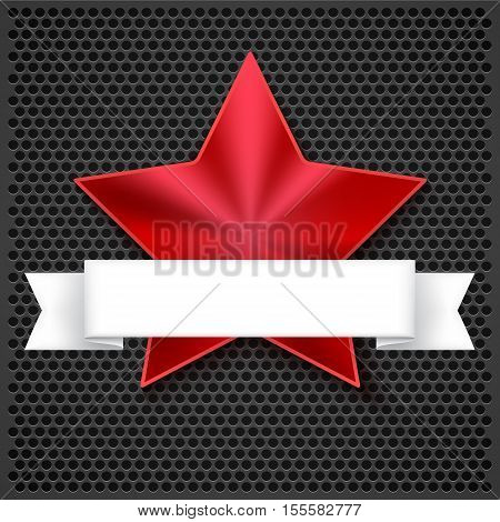 Red shining five-pointed star on metallic background with white banner design greeting cards. 3D illustration, Realistic texture of metal