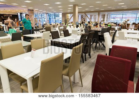 Khimki, Russia - September 03.2016. Tables and chairs in the largest furniture store Grand