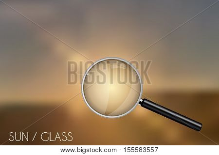 Magnifying glass on a sunny blurred background