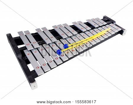 Xylophone With Mallets On Isolated White Background, Selective Focus