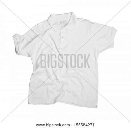 Blank light polo shirt on white background