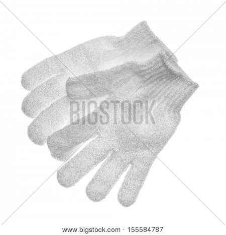 Exfoliating massage gloves isolated on white