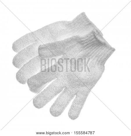 Exfoliating massage gloves isolated on white