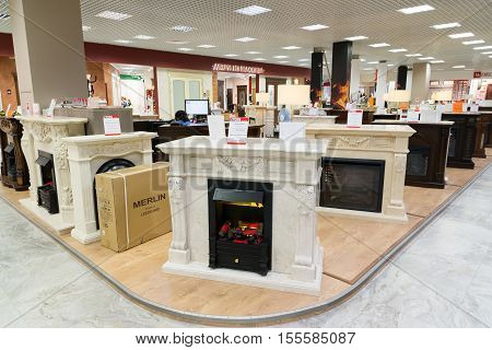 Khimki, Russia - September 03.2016. Electric fireplaces in the largest furniture store Grand