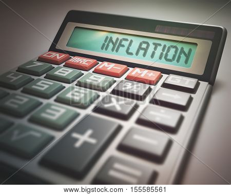 Solar calculator with the word INFLATION on the display. 3D illustration concept image of Business and Finance.