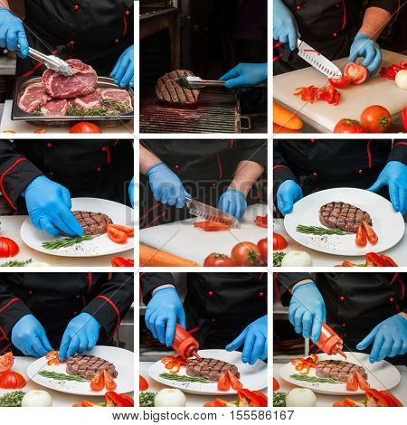 Set photos of Chef preparing meat steak