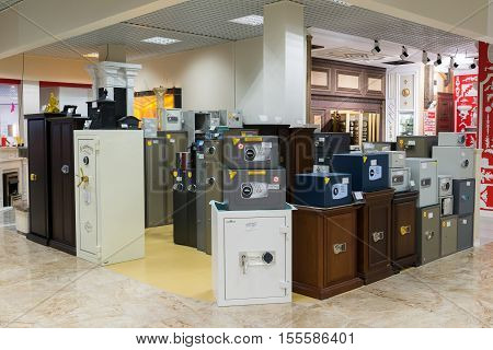 Khimki, Russia - September 03.2016. The metal safes in the largest furniture store Grand