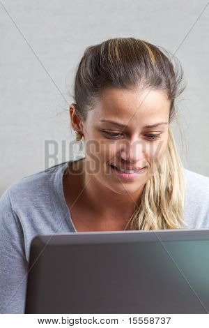 Pretty Girl With Computer