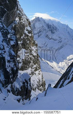 Snow-covered Alpine Slopes. Valle Blanche Mont Blanc Chamonix. View from the Grand Massif.