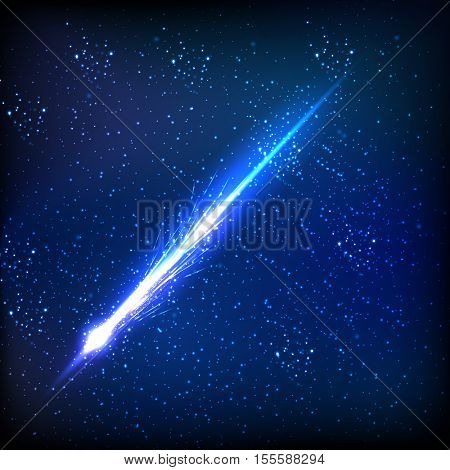 Comet on the black background