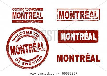 Stylized set of ink stamps showing the city of Montreal. All on white background.
