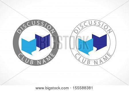 The educational logo. Open book in the shape of dialog cloud icon. The sign of discussion class, group, club, school or conference.