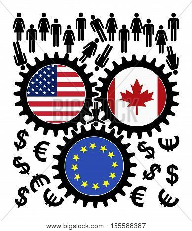 Fears over TTIP and CETA. People object to the trade agreement between the US, Canada and the European Union since they fear of getting exploited