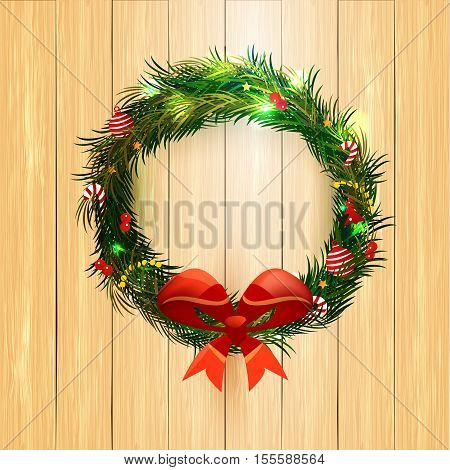 Realistic Christmas coniferous wreath isolated on the wood background. Vector Illustration, eps10, contains transparencies